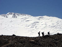 Lenin Peak. Hike to camp 1 (4200 m)
